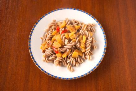 Foto di un piatto di pasta alla zucca